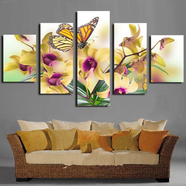 5pcs 5D DIY Butterfly With Flowers Diamond Painting Resin Rhinestone Scenery Cross-stitch Kit