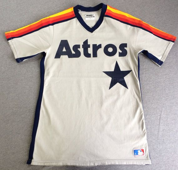 80s Houston ASTROS Rainbow Jersey Rare Sewn Sand by sweetVTGtshirt, $225.00