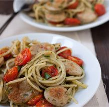 Roasted Tomato & Basil Pesto Spaghetti with Sweet Italian Chicken Sausage ------------ pretty tasty...but, I would recommend doing step #4 (roasting tomatoes) closer to the beginning.