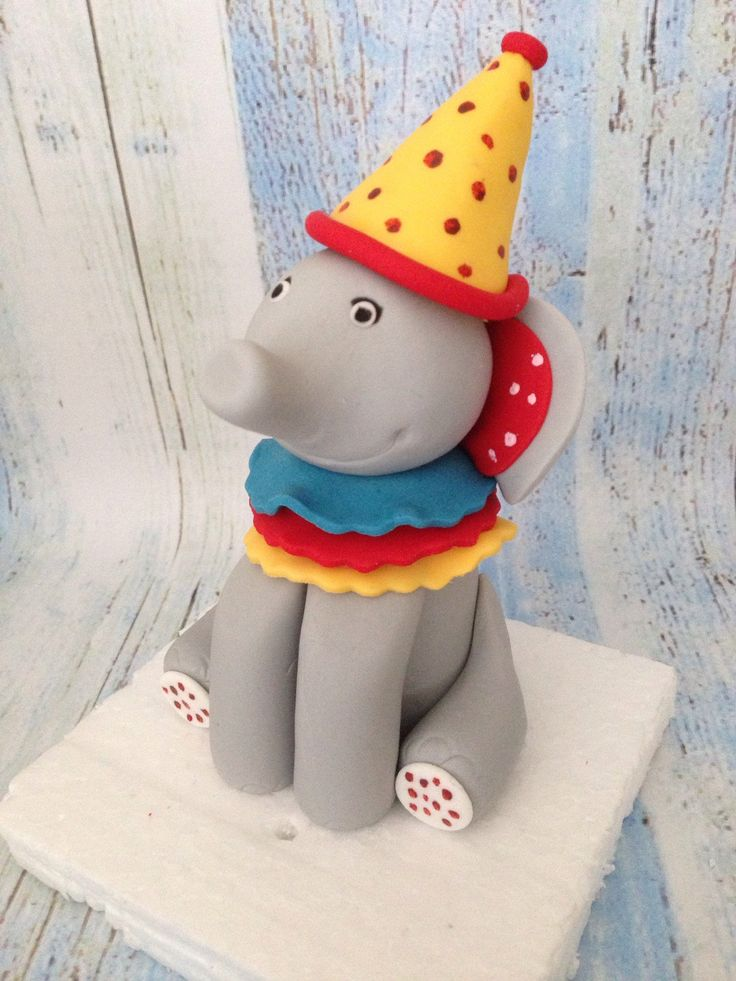 Circus  Elephant cake topper with fondant by SerasCakeArt on Etsy