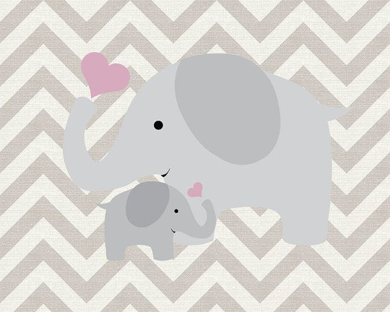 Parent and Child Elephant Nursery Art Decor by SweetLittleBarn, $14.99