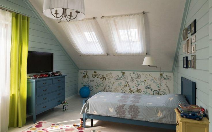 Дизайн детской комнаты для мальчика в мансарде