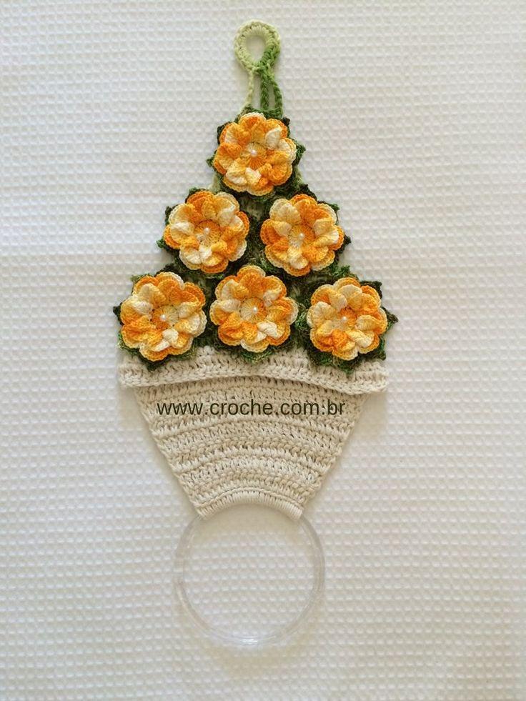 Porta pano de prato vaso de flores | Croche.com.br