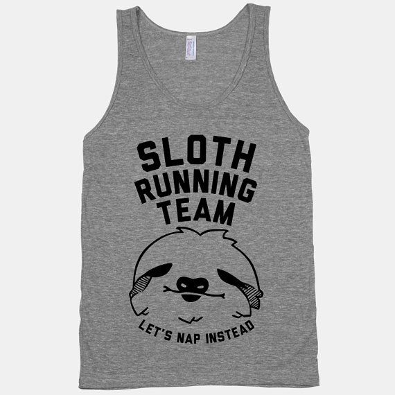 Sloth Running Team Tank by LookHUMAN on Etsy, $26.00