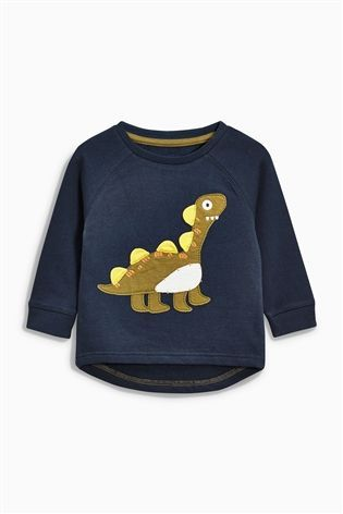 Buy Navy Appliqué Dinosaur Crew Neck Jumper (3mths-6yrs) from the Next UK online shop