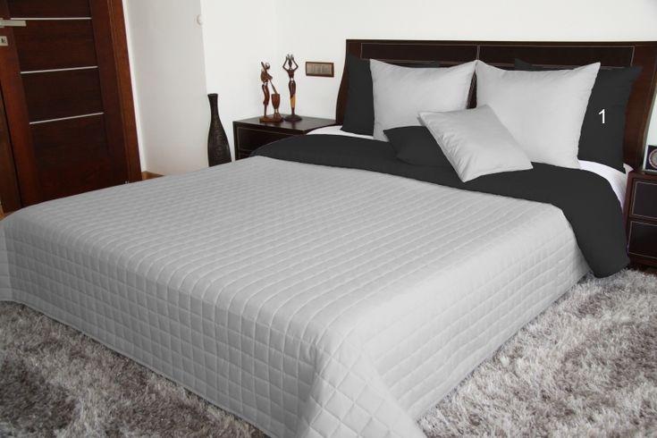 Dwustronne szaro czarne narzuty na łóżka