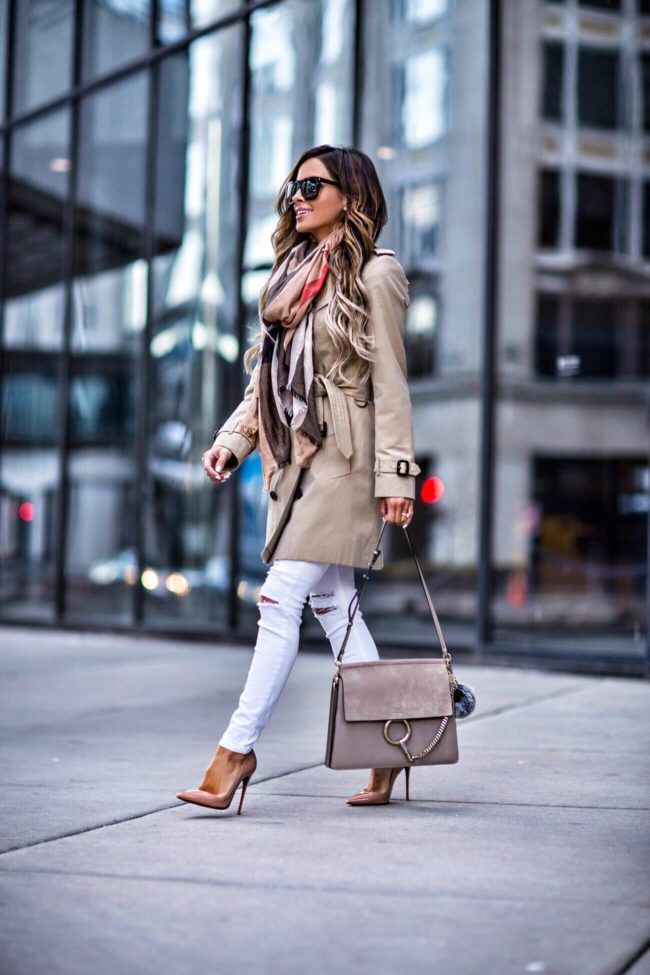 APRIL 5TH, 2017 BY MARIA Classic Spring Outerwear - Burberry Trench // Burberry Scarf // Saint Laurent Sunglasses // Christian Louboutin 'So Kate' Heels // Chloe Faye Bag // Similar Topshop White Jeans // MAC Lipglass lipcolor