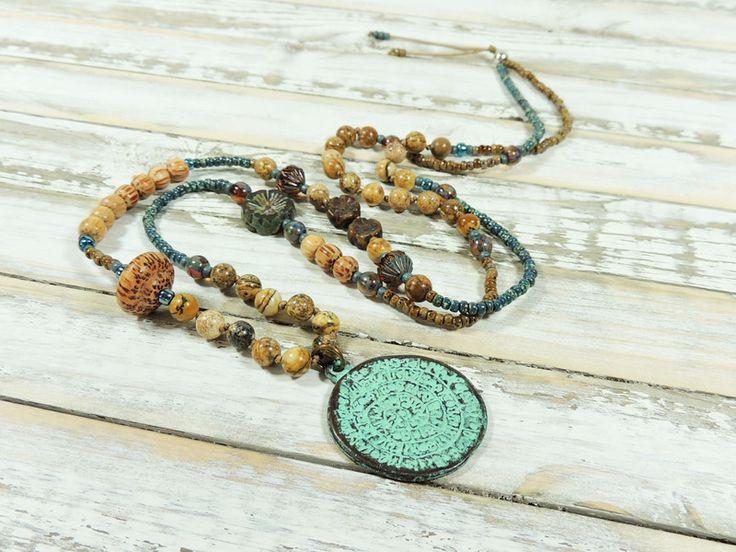 Charm- & Bettelketten - Lange Kette - JASPIS - PALMHOLZ - GLAS - - ein Designerstück von Kunterbuntes-Perlenspiel bei DaWanda