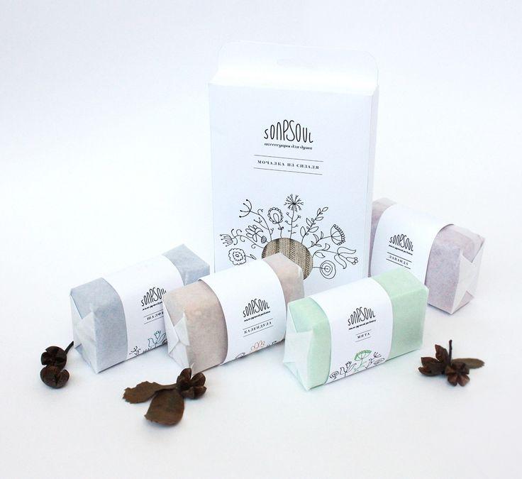 Торговая марка: SONPSOUL /Дизайнер: Юлия Величко Студенческая работа по разработке логотипа и упаковки для мыла и аксессуаров для душа.