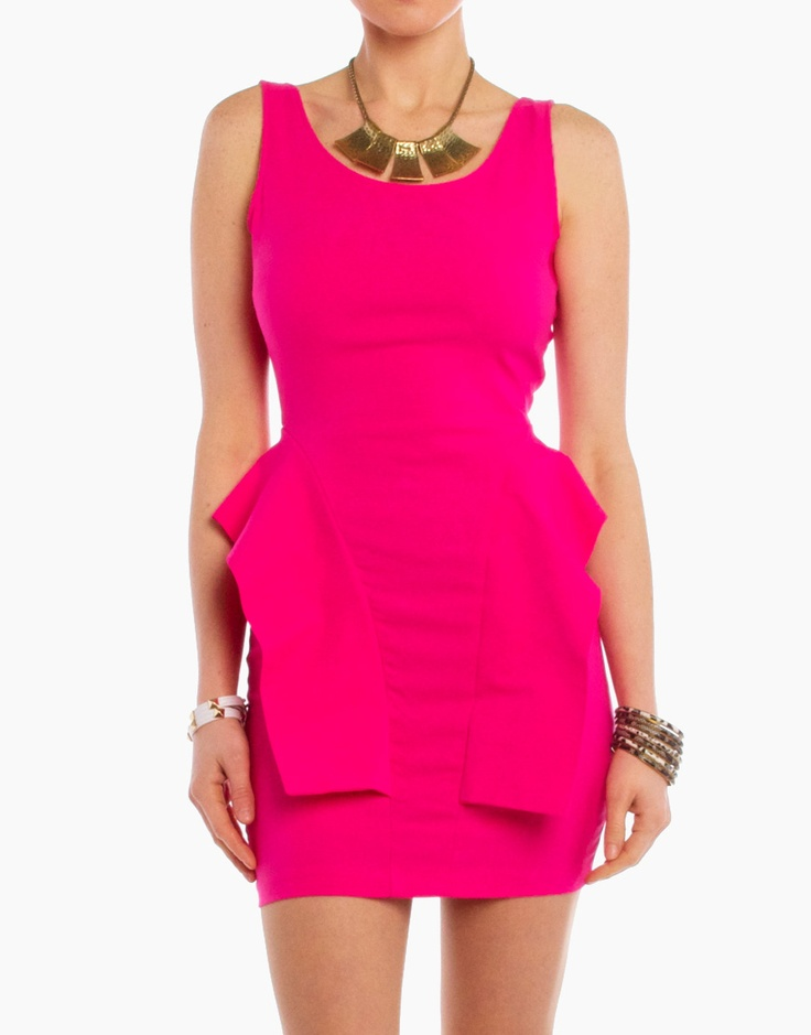 Electric pink dress. $22: Hotpink, Pink Dresses, Fashion Colour, Frugal Fashion, Fabulous Fashion, Tanks Dresses, Fashion Finding, Open Back, Peplum Tanks
