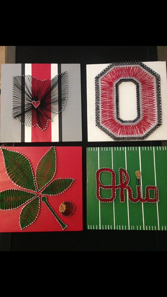 12X12 Ohio State Buckeye Leaf String Art by CharlieDollivor