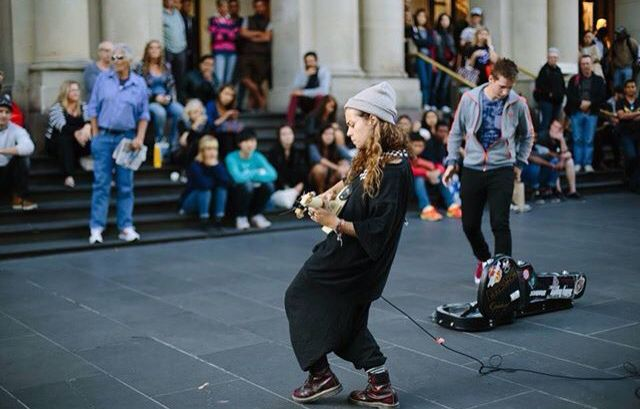 Tash Sultana - Melbourne busker. She entertains with a mix of funk, hiphop and rock whilst beatboxing simultaneously. Be sure to watch out for her! For more info check out theculturetrip.com