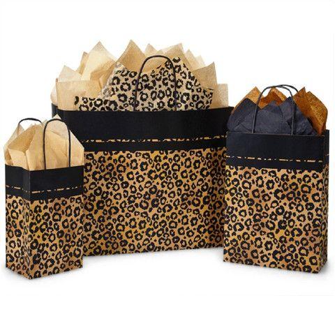 Paper Shopping Bags Leopard Safari - with Black Paper Twist Handles – B2BWraps.com