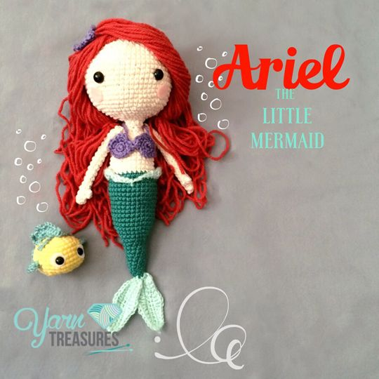 Ariel the little mermaid crochet amigurumi from www.yarntreasures.com