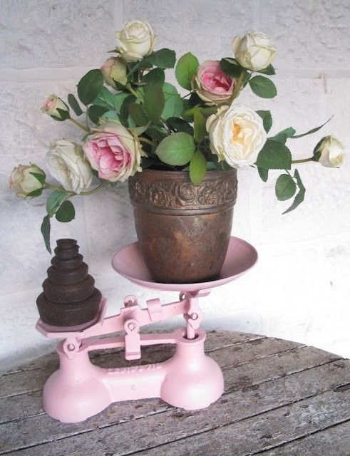Pretty roses on a vintage pink scale