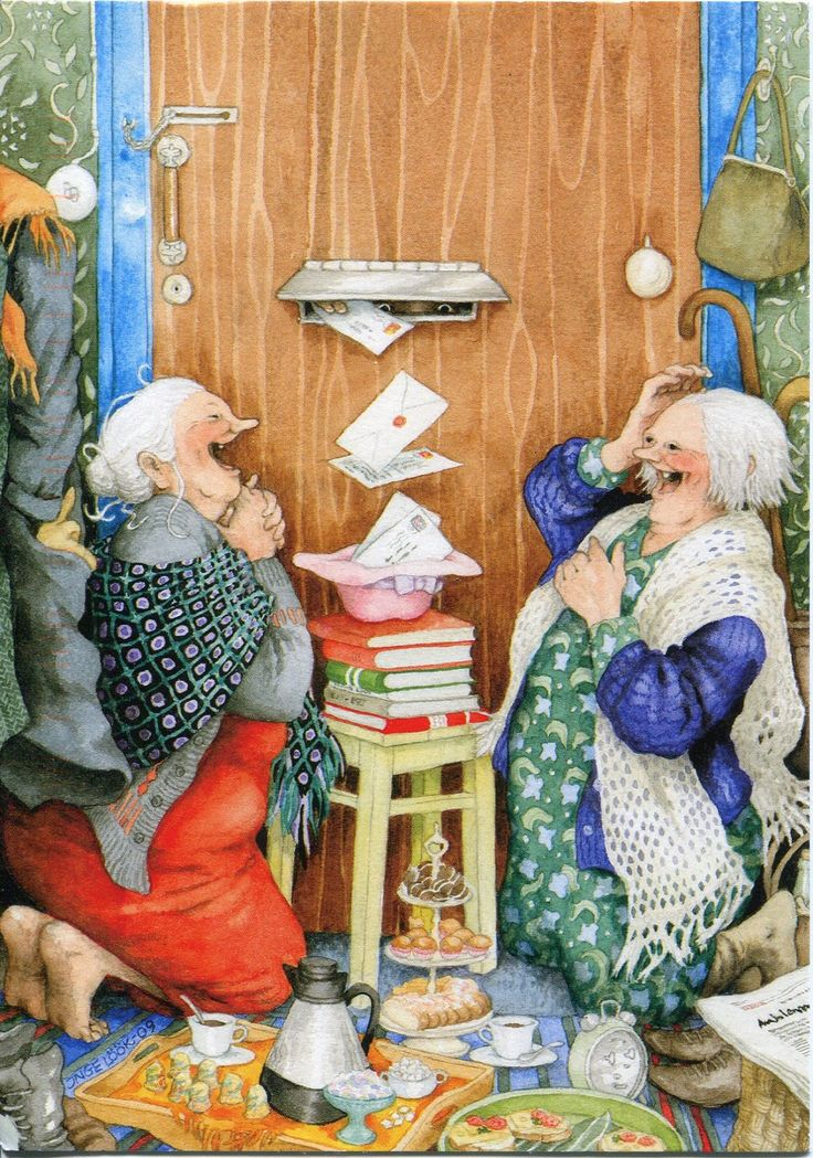 I love Inge Löök 's grannies :-) She doesn't only draw the grannies, and I love the rest of her work too :-) She's Finnish, ...