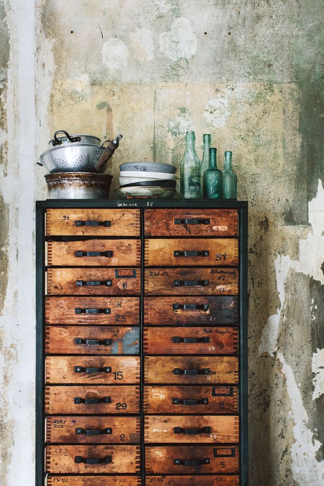 Love The Distressed Look Of This Aged Industrial Storage Dresser. Rich In  Tone And Texture.