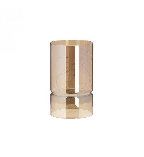 METAL_GLASS CANDLE HOLDER W_LED IN GOLDEN D9X15