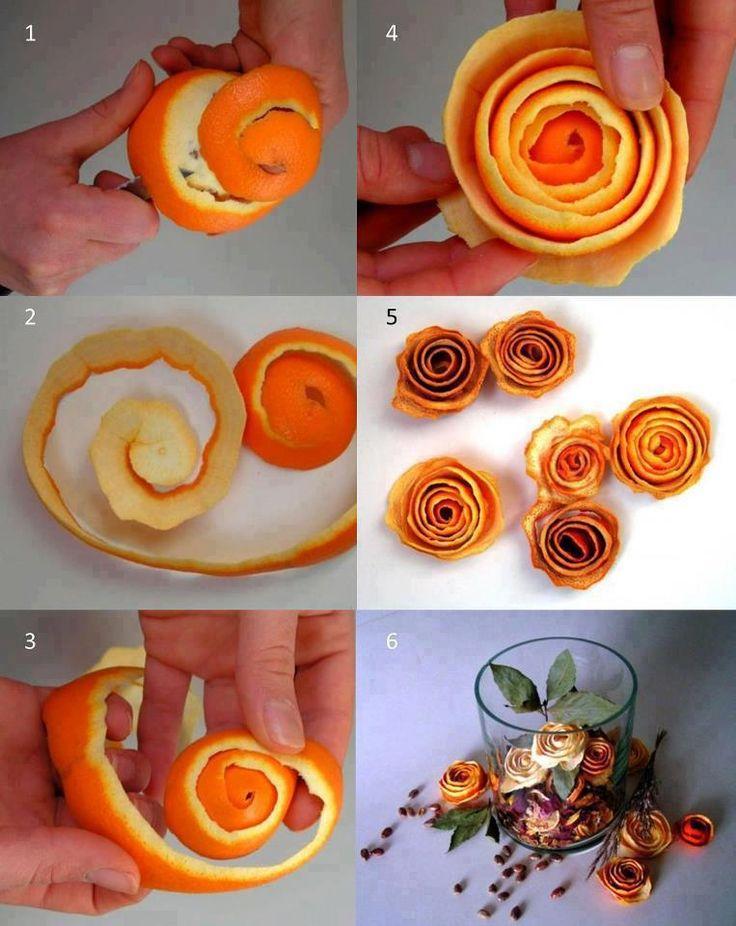Flores hechas con cáscara de naranja, adornan y aromatizan, que sencilla de hacerlas :)