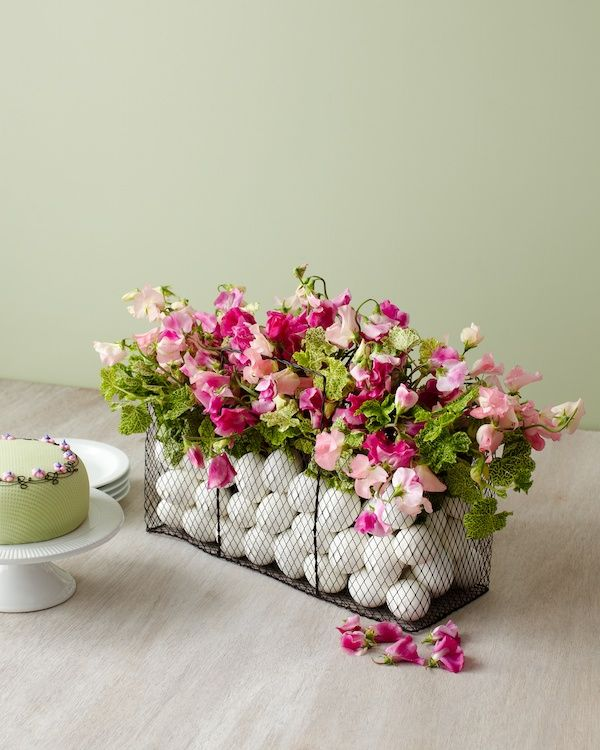 White Easter Egg and Pink Floral Wire Basket Centerpiece