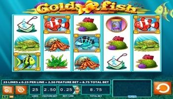 The #GoldFish slot machine is from WMS Gaming and it's a great looking, super #fun game and it has 25 pay lines and six #amazing fish features. You can now play it online. Let's start by looking at the #enjoyable features where four can be activated after any losing or winning spin. The #Turtles bonus can be activated during game play.