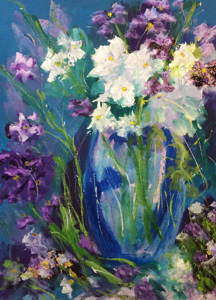 """The Flowers of Summer in a Blue Vase"" by Margaret Morgan (Watkins). Paintings for Sale. Bluethumb - Online Art Gallery"