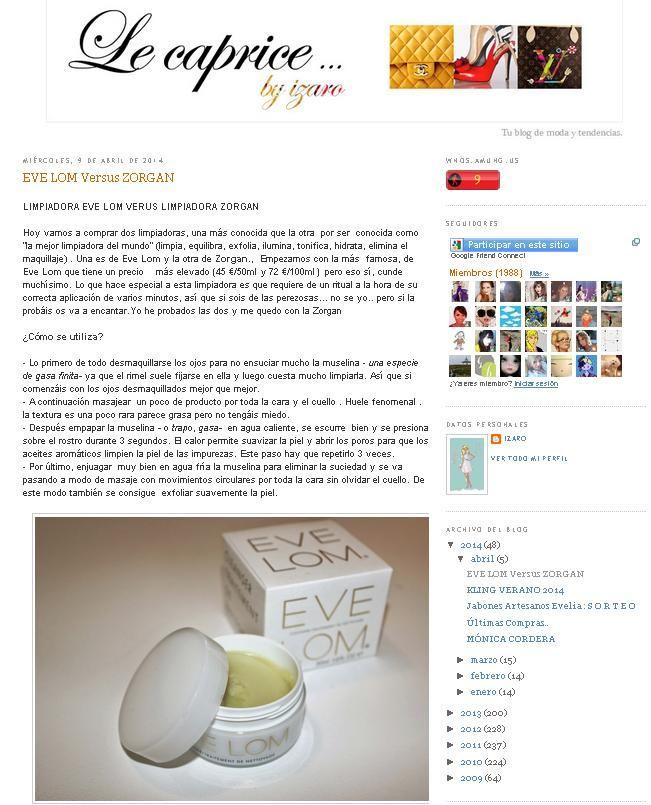 """Blog """"Le Caprice by Ízaro"""". Producto: Comparación Bálsamo Limpiador de Eve Lom & Zorgan Cleanser."""