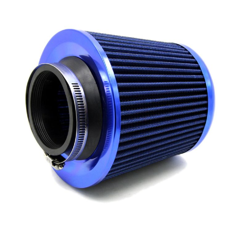 """TIROL T17876a Universal Aluminum Round Tapered Auto Air Intake/3"""" Air Filter Washable Blue Free Shipping"""