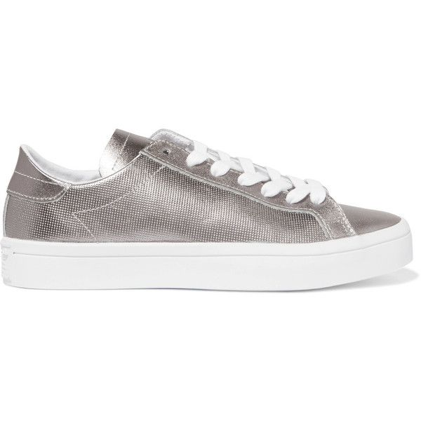 adidas Originals Court Vantage metallic smooth and textured-leather... ($63) ❤ liked on Polyvore featuring shoes, sneakers, ortholite shoes, adidas originals trainers, metallic sneakers, silver shoes and silver sneakers
