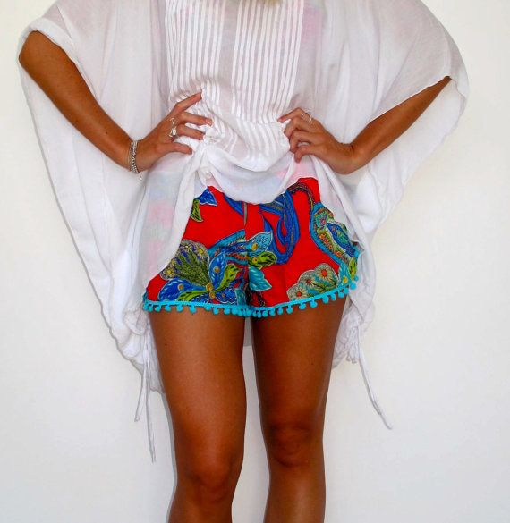 Pom Pom Shorts Raspberry Peacock Print with Large by ljcdesignss