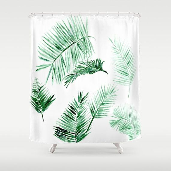 Palm Leaf Shower Curtain tropical curtain palm by lake1221 on Etsy