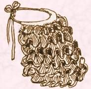 """Dibujo de una """"tournure"""" de 1872.  Las crinolinas todavía se usaban, pero simplemente cambian su forma. En 1869 se empezó a usar la """"tournure"""" hecho de volantes de crin para lograr la silueta de moda del día.:"""