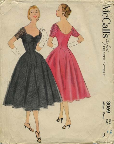 Vintage Sewing Pattern | McCall's 3069 | Year 1954 | Bust 32 | Waist 26½ | Hip 35