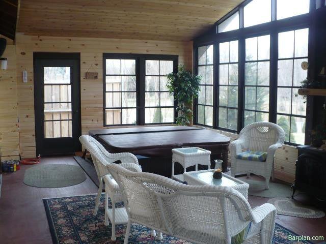 Three season room with a hot tub!!