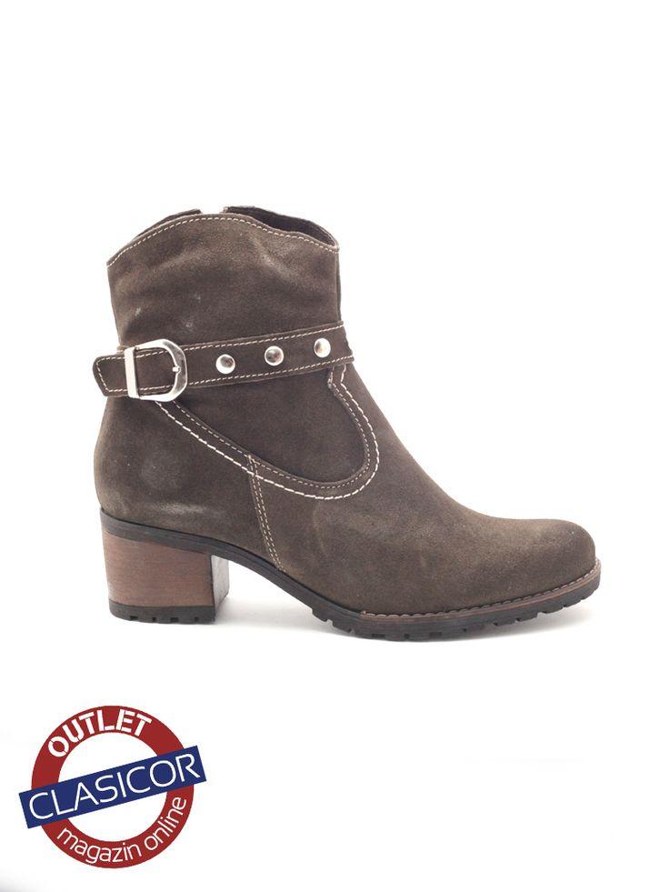 Botine din piele intoarsa pentru femei – 4012 Kaki – Pantofi piele online / outlet incaltaminte piele | Clasicor