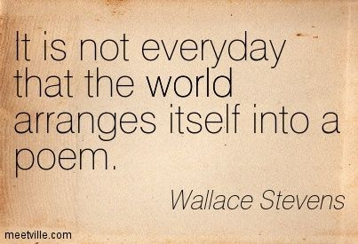 """It is not everyday that the world arranges itself into a poem"" - Wallace Stevens"