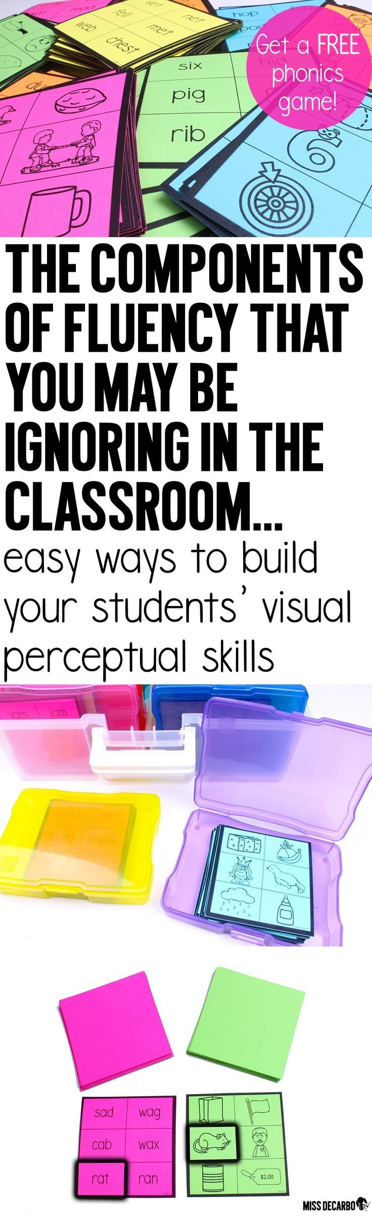 "Read about how visual perceptual skills are related to student learning, and discover easy and fun ways to build visual processing skills in the classroom. Get a FREE Brainamin phonics ""short a"" game to try out with your students!"