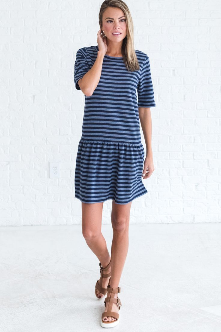 Navy striped dress, cute casual outfit ideas for summer, summer dress outfits, cute dress outfits for women