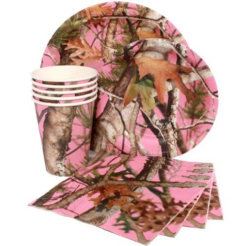 Pink Camo Party Kit includes: 8 Pink Camo 9 Inch Lunch Plates 8 Pink Camo 7 Inch Dessert Plates 8 Pink Camo 9 Ounce Hot/Cold Paper Cups. Buy it here: http://pinkcamo.net/shop/pink-camo-party-kit/