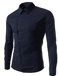 Men's Slim Casual Pure Long Sleeved Shirt  – USD $ 13.99- use size chart carefully,