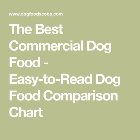 The Best Commercial Dog Food - Easy-to-Read Dog Food Comparison Chart