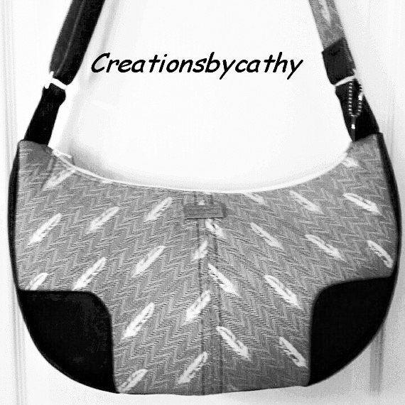 Cross body Hobo bag made with Eco Vegan Navy Cork /Robert Kaufman cotton / Long adjustable strap/Handcrafted on Vancouver Is. Canada by elfdesignstudio on Etsy