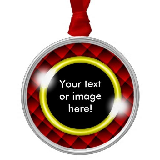 Red Black Diamond Squares 3D Gold Frame Christmas Ornaments - This design features fading red and black 3D squares with a gold frame in which to add your own text, image, photo or picture.