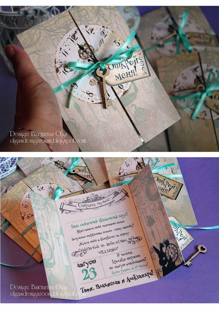 "Baiciurina Olga's Design Room: Alice in Wonderland wedding invitations-Свадебные приглашения в стиле ""Алиса в стране чудес"""