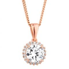 Rose gold plated sterling silver cubic zirconia surround necklace