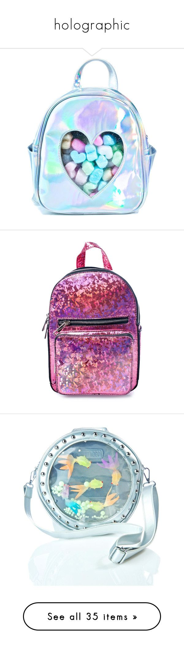 """""""holographic"""" by lazerk1tty ❤ liked on Polyvore featuring bags, backpacks, accessories, silver holographic backpack, clear transparent bag, clear backpacks, blue bag, see through backpack, zip top bag and purple party bags"""