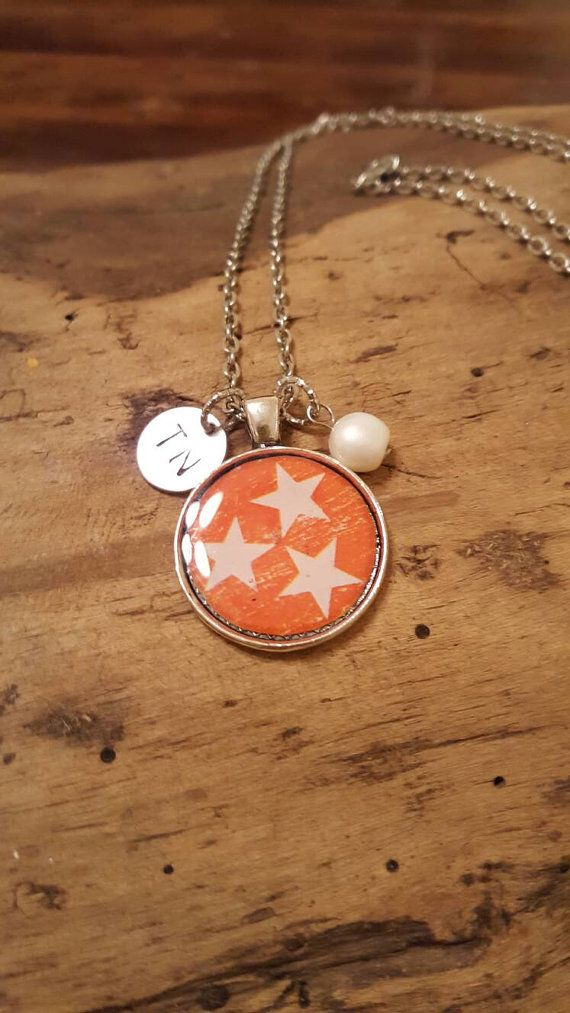 Tennessee orange tri-star necklace; go vols Hey, I found this really awesome Etsy listing at https://www.etsy.com/listing/265042279/tennessee-tri-state-necklace-with-tn-tag