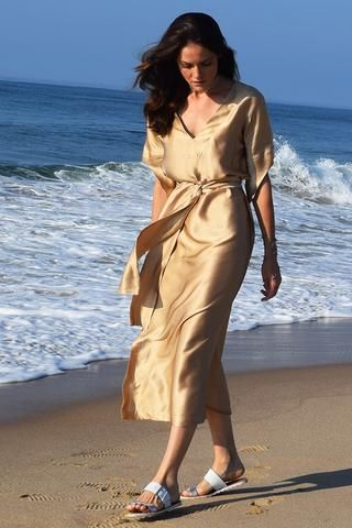 Gold Silk Dress- Also Available in Black