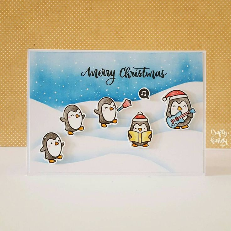 Love these penguins family from @lawnfawn 🐧🐧🐧🐧🐧 . . . Merci beaucoup @soumo103 pour les images ❤😘 . . . #holidaycardseriesbypriscilla2017 #cardmaking #kartengestaltung #carterie #handmadecard #christmascards #stamping #lawnfawn #colouring #coloredpencils #fabercastell #versacolor #handlettering  #tombowfudenosuke #papercrafting #basteln #bricolage #craftybasteln