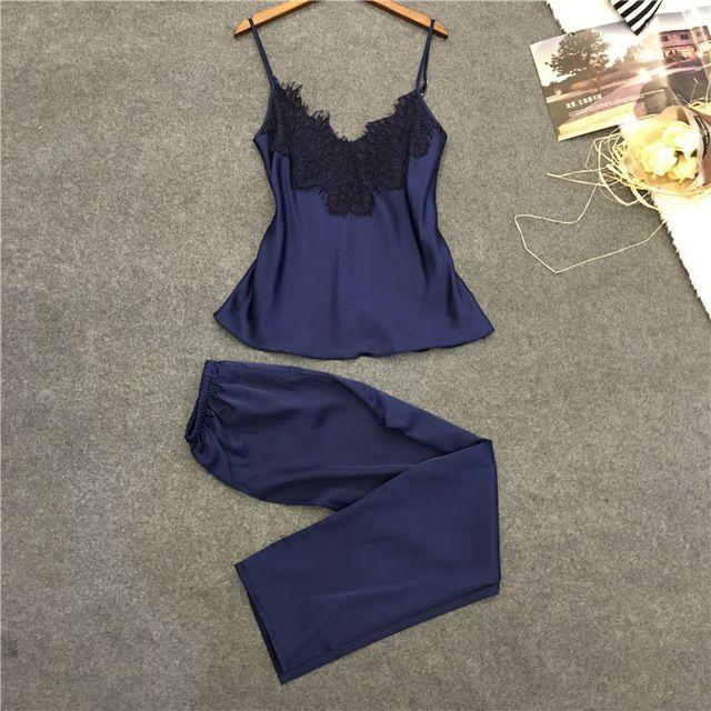 Длинные брюки + топы две пьесы женская пижамы установить бесплатная доставка 2017 новый дизайн женский мягкий прохладный домашней одежды пижамы летний hot